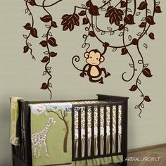 Removable Vinyl Wall Decal - Monkey in Jungle B type with one monkey - swinging monkey wall decal - Vines and monkey wall decal - Baby Room