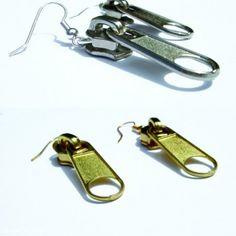 Black Golden Nickel Yellow Zipper Earrings