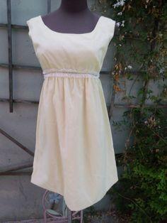 Vintage 60's Pale Yellow Empire Waist Dress by sailorpinkvintage, $36.00