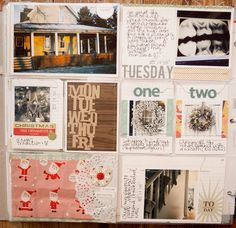 projecy life layout inspiration // MARCY PENNER  ..I especially like the way she saved the christmas wrapping paper.