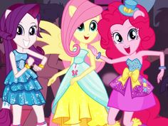 Rarity, Fluttershy &Pinkie pie Equestria girls in their formal dresses that Rarity Designed and Created for her friends :)
