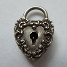 Victorian Sterling Silver Repousse Puffy Heart Padlock ~ H.F. Barrows ~ H.F.B.