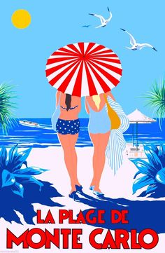Monaco Monte Carlo France French European Girls Travel Art Poster Advertisement