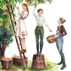 Country / Campagna - Art by Inslee Haynes Fariss Many hands make light work… Best Friend Drawings, Bff Drawings, Illustration Sketches, Art Sketches, Fashion Illustrations, Arte Fashion, Calendar Girls, October Calendar, Fashion Design Sketches