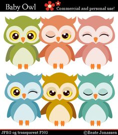 Instant Download Cliparts - Baby Owls
