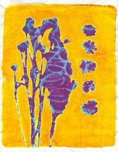 Gelli print! http://lerusho.wordpress.com/2013/11/11/flower-print-on-reversed-ringlets/