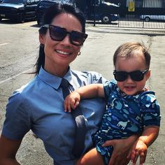 Lucy Liu with her son, Rockwell Lloyd Liu, on the set of Elementary.