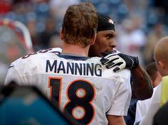 HOUSTON, TX - DECEMBER 22: Denver Broncos tight end Julius Thomas (80) gives a hug to Denver Broncos quarterback Peyton Man...  #ProFootballDenverBroncos