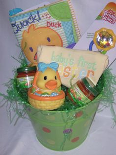 Baby's 1st Easter basket. Love the carrots lol