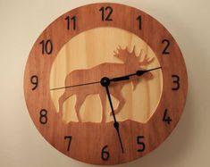 Pine Deer clock Wood clock Wall clock Nature clock Wooden wall