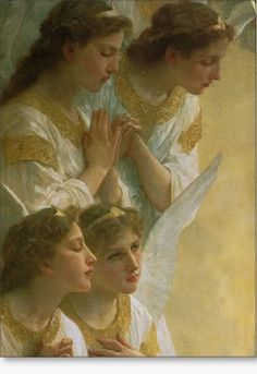Close up detail of angels from The Virgin With Angels (1900) by William Adolphe Bouguereau