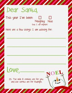 FREE Dear Santa Letter Printable for Christmas | Delightfully Noted