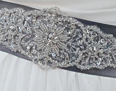 Beaded Bridal Sash-Wedding Sash In Grey, Beaded Sash, Wedding Dress Sash, Bridal…