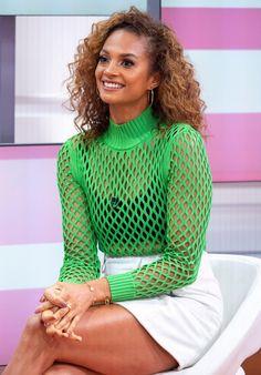 Alesha Dixon, Good Morning Britain, Tv Presenters, Crochet Top, Curves, Mini Skirts, Turtle Neck, Celebs, The Incredibles