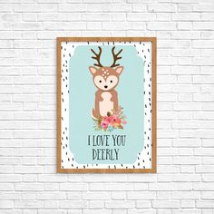 I Love You Deerly Deer Woodland Animal Quote Print  This adorable print would look great in any woodland animal themed nursery! Mix and match