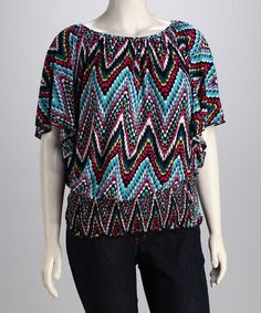 Take a look at this Blue & Red Zigzag Plus-Size Angel-Sleeve Top by Yummy Plus on @zulily today!