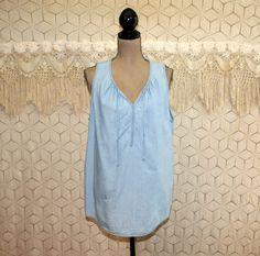 Summer Top Light Blue Blouse Sleeveless Cotton by MagpieandOtis