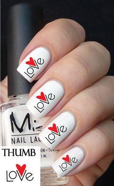 Love Heart nail decal
