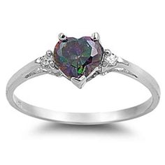 925 Sterling Silver Ring Rainbow CZ-Heart Shape-Band Width:2mm -