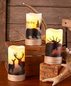 Inspired by the outdoors, this LED Wilderness Silhouette Candle helps create a tranquil ambiance in your home. The flameless candlelight flickers behind the ani