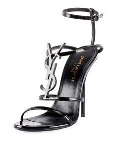 d50884807193 Get free shipping on Saint Laurent Opyum Cassandra YSL Monogram Patent  Sandals at Neiman Marcus.