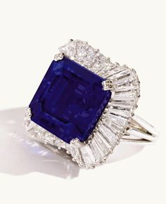 A 28.18-carat square emerald-cut Kashmir sapphire sold for nearly $5.1 million. It achieved $180,731 per carat, setting a world auction record of a price per carat for a sapphire.