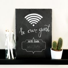 Wifi Be Our Guest password chalk sign  by PaintPotProjectsShop