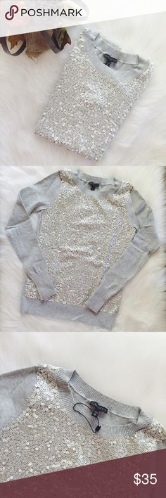 Express Silver Confetti Sweater Gorgeous confetti sweater, brand new without tags, missplaced the tags so couldn't return. Material is 74% cotton, 26% nylon. Size XS.    I. A M. A. S U G G E S T E D. U S E R       Shipping the day of or next day                    C L O S E T. R U L E S                   •no trading                   •smoke free home Express Sweaters Crew & Scoop Necks
