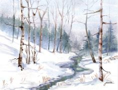 """Creek in Winter"" - Digital Watercolour, in Snowy Landscapes Watercolor Paintings For Beginners, Beginner Painting, Watercolor Art Landscape, Watercolor Ideas, Winter Szenen, Winter Ideas, Watercolor Christmas Cards, Scene Image, Country Paintings"