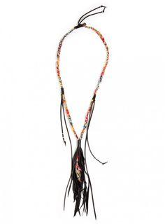 Delia Necklace This bold Johnny Was DELIA COLLECTION NECKLACE has a little bit of everything we love. There's a multi-hued braided silk cord, teamed with a leather tassel and silver beading details. Slip this one over any of our embroidered tunics or silk tops for an irresistible and artisanal jewelry update.