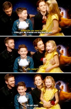 Dan Stevens & Emma Watson meet 'Mini Belle and the Beast'