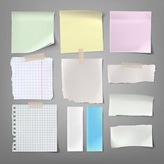 Buy Collection of Paper Notes by vectorpocket on GraphicRiver. Collection of vector illustrations paper notes of various types in a realistic style isolated on a gray Galaxy Background, Background Banner, Tableau D'information, Sheet Music Notes, Notebook Paper, Torn Paper, Banners, Paper Plane, Journal Paper