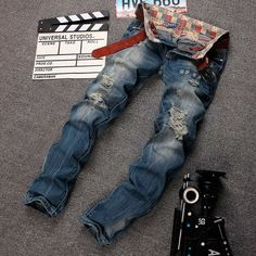 22.20$  Watch now - http://ali24j.shopchina.info/go.php?t=32782603849 - 2016 Spring New Men Jeans Designer Patched Stretched Hiphop Skinny Fit Denim Pants In Men`s Plus Size 38 22.20$ #buyonlinewebsite