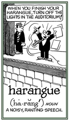 """Harangue Syllabification: ha·rangue Pronunciation: həˈraNG noun: harangue plural noun: harangues Definition in English: 1. A lengthy and aggressive speech. synonyms: tirade, diatribe, lecture, polemic, rant, fulmination, broadside, attack, onslaught. verb: harangue; 3rd person present: harangues; past tense: harangued; past participle: harangued; gerund or present participle: haranguing 1. lecture (someone) at length in an aggressive and critical manner. """"the kind of guy who harangued total stra Unusual Words, Weird Words, Rare Words, Great Words, New Words, English Vocabulary Words, English Words, Middle English, Idioms And Proverbs"""