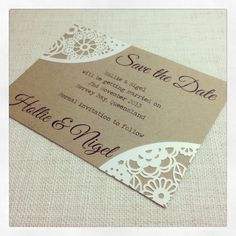Rustic Save the Date wedding invitation cards - laser cut lasercut cards SAMPLE