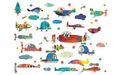 Flying Vehicles Wall Stickers from Little Big Room by Djeco will inspire creative adventures for your little one. These removable wall stickers feature over 40 regular and pieces. Kids Room Wall Stickers, Removable Wall Stickers, Kids Wall Decor, Childrens Room Decor, Flying Vehicles, Colorful Clouds, Stoff Design, Vinyl, France