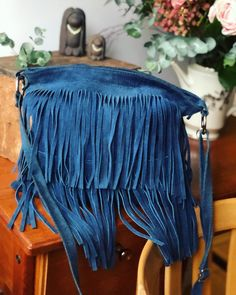 Excited to share this item from my shop: Italian blue suede leather Fringe bag purse vintage made in Italy bag Fringe Purse, Fringe Bags, Leather Fringe, Suede Leather, Blue Suede, 80s Fashion, Purses And Bags, Italy, Leather Crafts