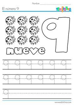 Fichas de los números... el número 9. Descarga nuestras fichas coloreables de los números, esta es la del número nueve, con líneas para escribir y dibujos.
