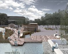 Lena Sionti - Kalliopi Chourmouziadou architects, 2nd prize at the architectural competition for the redesign of Pyrros square at Ioannina, Greece. Kids friendly urban design with flowing water elements.