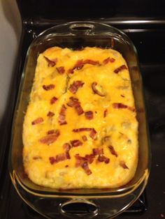 Baked potato casserole  I made this for dinner on Monday, two days later still delicious. I used turkey bacon cooked in the microwave. Super easy to make. If I can make it, anyone can.