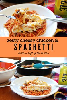 Crispy chicken covered in cheese then served on top of spaghetti Zesty Cheesy Chicken and Spaghetti is a dinner that everyone will love Best Pasta Recipes, Yummy Chicken Recipes, Yum Yum Chicken, Dinner Recipes, Cooking Recipes, Yummy Recipes, Noodle Recipes, Amazing Recipes, Turkey Recipes