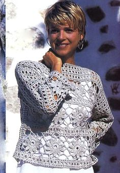 Pretty crochet shirt with strips of flower motifs in vertical pattern inserts interspaced with sampler rows. pylover332976509 (381x550, 106Kb)