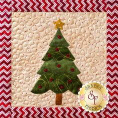 Metallic accents and little red buttons adorn this Christmas tree from our Christmas Keepsakes wall hanging! Sign up for the 10-month Block of the Month program here: https://www.shabbyfabrics.com/-Christmas-Keepsakes-BOM-Pre-fusedLaser-P30953.aspx