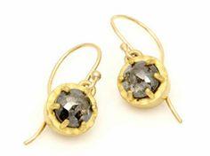 April Higashi - prong set rose cut diamond earrings   http://shibumigallery.com/