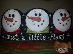 Just a Little Flaky Snowman hand painted brick edger from www.facebook.com/krisscreativecrafts