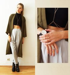 Missguided Louisa Trousers, Missguided Kimono Duster Coat, Daniel Wellington Watch