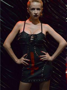 LAURA DIAMOND Kvlt ov Satana Collection Satanic  leather mini dress by LauraDiamondShop on Etsy