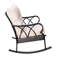 SunLife Outdoor Indoor Aluminum Rocking Chair, Patio Garden Cafe Glider Lounge Armchair with Beige Cushion, Black, Silver(Wicker)