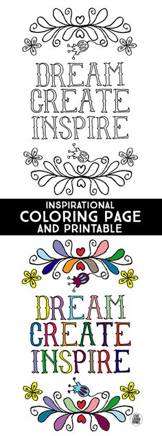 100 free coloring pages for adults and children - Dream Create Inspire