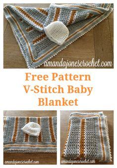 Free Crochet Pattern - V-Stitch Baby Blanket Baby Blanket Crochet, Crochet Baby, Free Crochet, Knit Crochet, Crochet Blankets, Baby Blankets, Crochet Diagram, Crochet Patterns, V Stitch